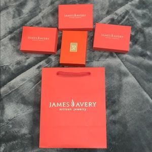james avery bag and boxes